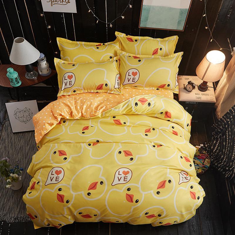 acheter canard jaune doux confortable literie ensemble linge de lit ensemble de literie housse de couette taie d oreiller roi reine pleine taille double de