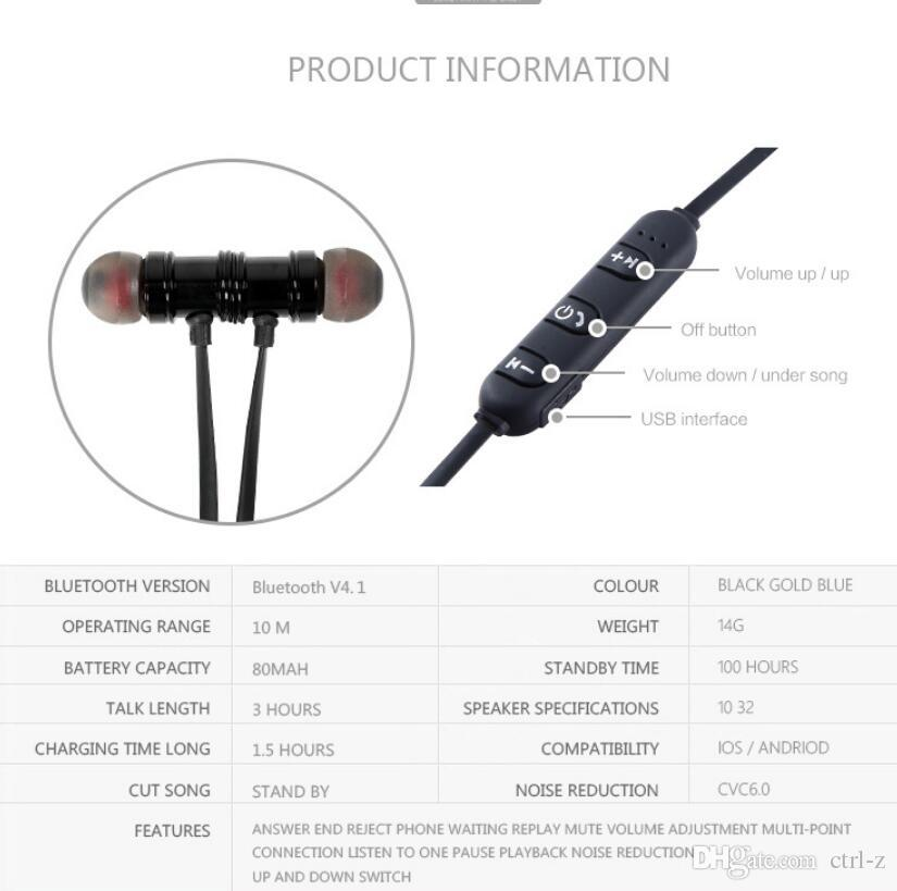 Bluetooth Earphone Wireless Headset Stereo BT4.1 With Mic