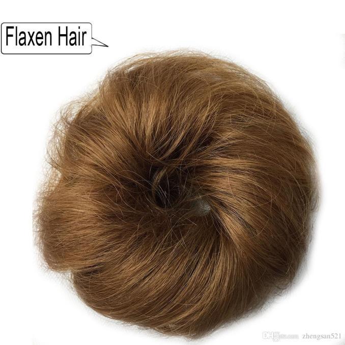 human hair curly chignon bun hairpiece for women fake hair extensions elastic hairbands ties hair accessories
