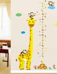 Cartoon measure wall stickers for kids rooms giraffe monkey height chart ruler decals nursery home decor the from also rh dhgate