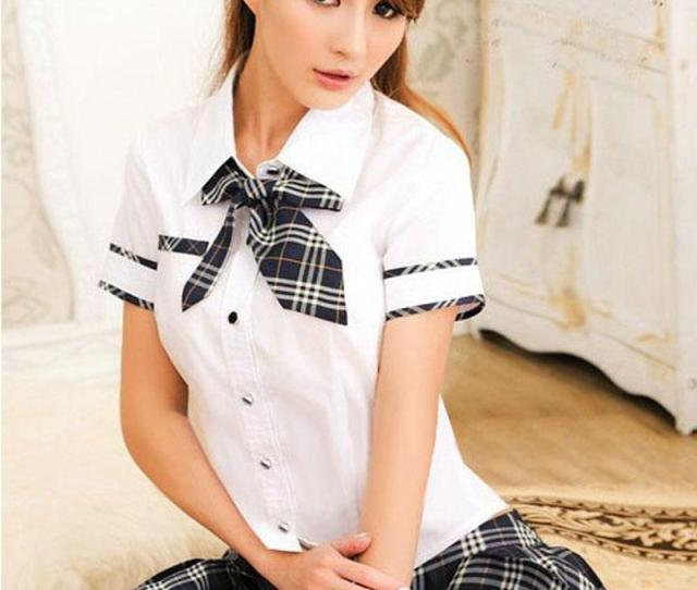 2019 Sexy School Girl Costume Women Roleplay School Uniform Cosplay Set Sweetie Short Sleeve Shirt With Plaid Skirt Fancy Dress From Fashionclubwear