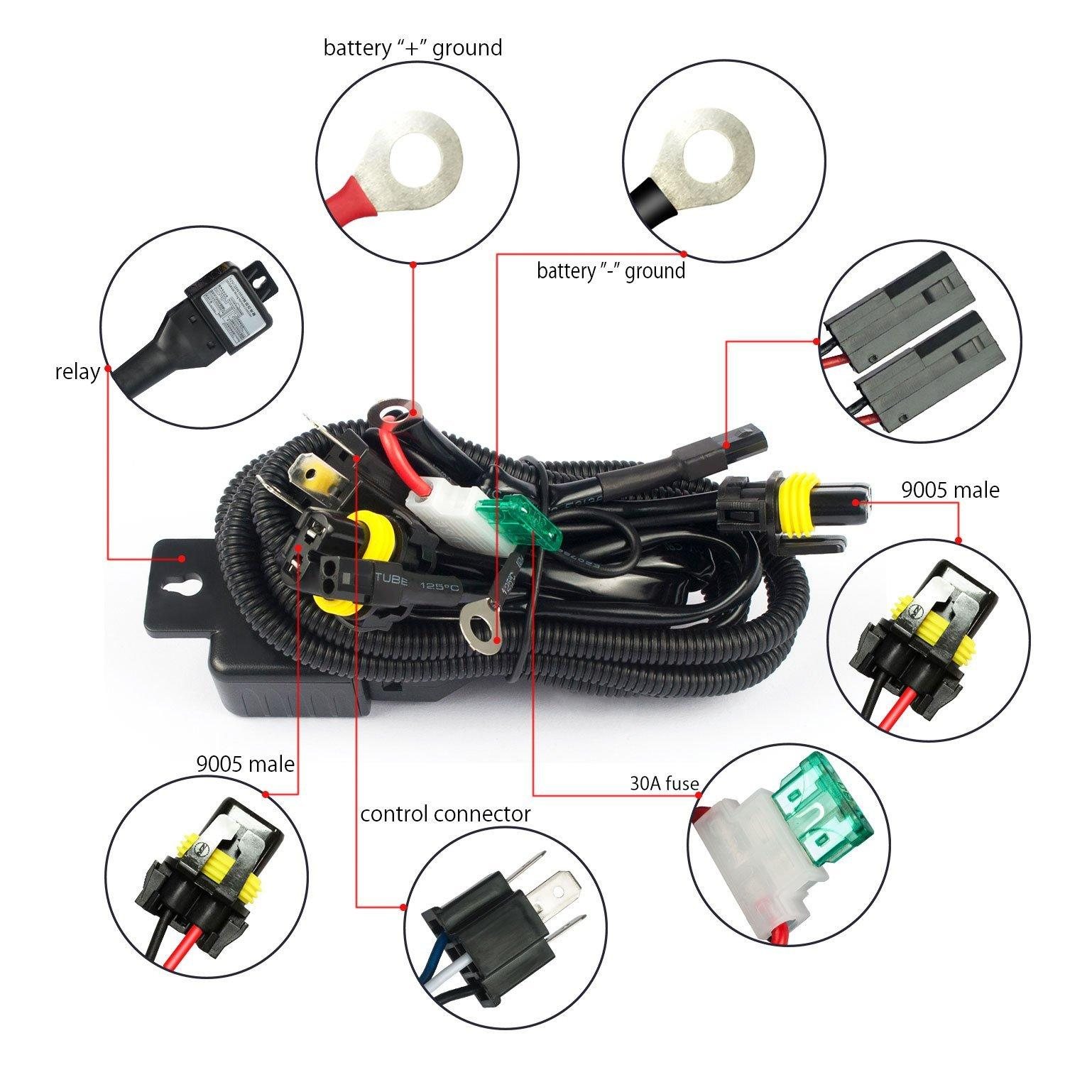 hight resolution of h4 hid relay harness hid xenon kit h4 3 h13 3 9004 3 9007 3 bixenon wiring harness hi lo controller wire cable harness hids conversion kits hids for cars
