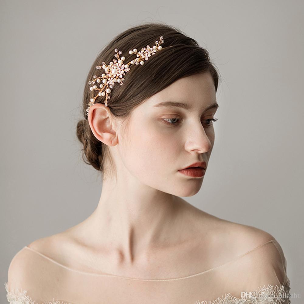 romantic gold pearl bridal hairband wedding hair accessories crystals bridal hair bohemian pearls headpiece coronas de la boda cpa1429 brides hair clips for