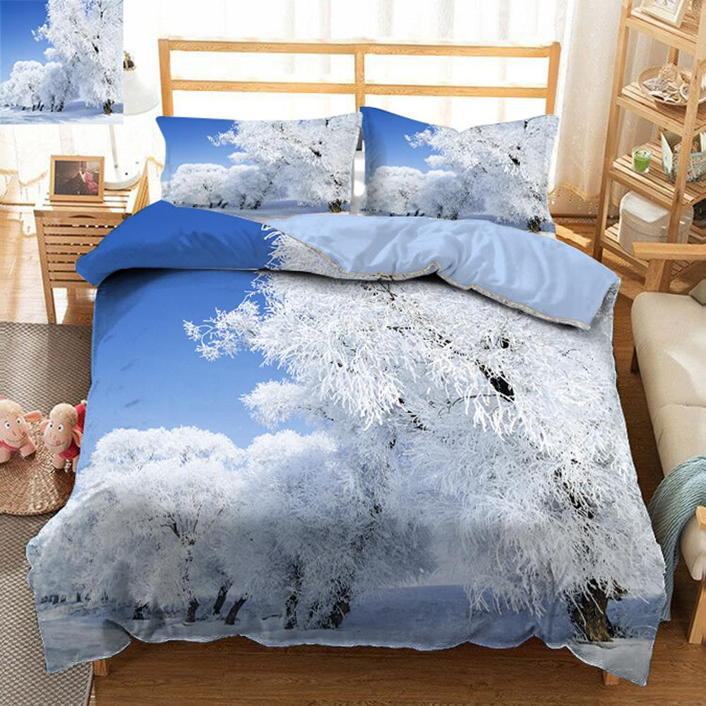twin king size queen 3d bedding sets bedsheet pillowcase bed cover white snowflake christmas tree california king flat sheet bedding and comforters shop