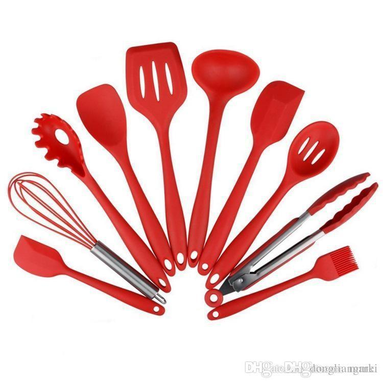 kitchen utensil 2 drawer base cabinet utensils set silicone cooking heat resistant spoon shovel ladle spatula non stick backing tools wn593 canada 2019 from marki