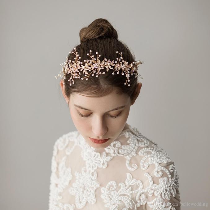 vintage wedding headbands hair accessories with pearls rhinestones women hair jewelry wedding tiaras bridal headbands #hp358