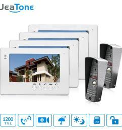 jeatone new 7 inch lcd tft color video door phone intercom system 1200tvl outdoor pinhole camera ir night vision unlocking door front door cam front door  [ 1000 x 1000 Pixel ]
