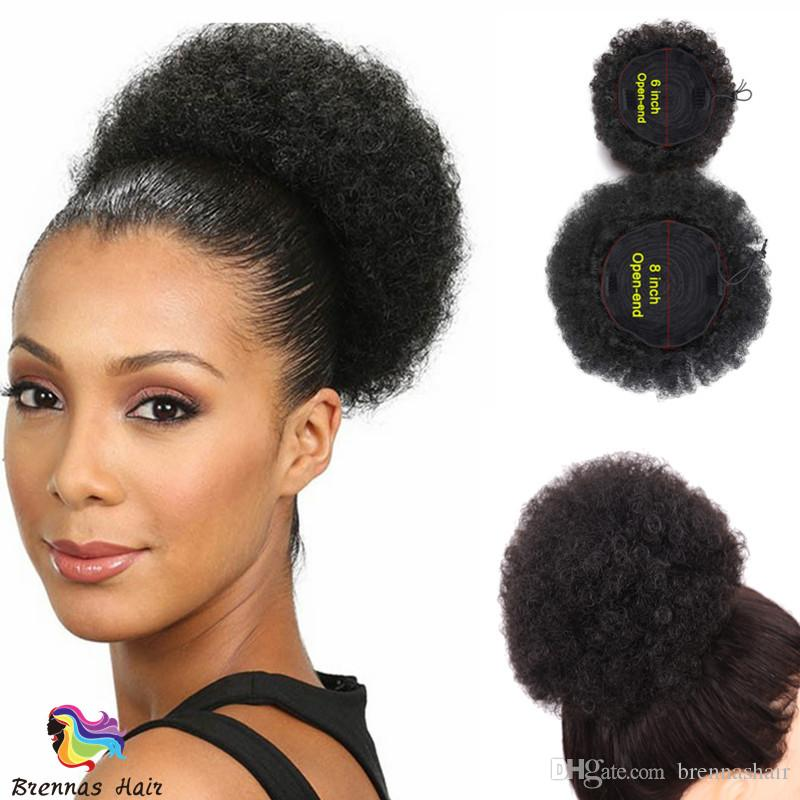 fashion human hair afro curly chignon ponytail bun donut short hair pieces for black woman usa uk