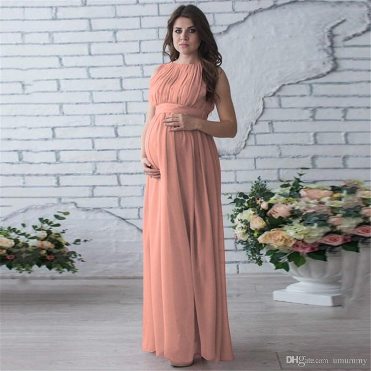 Elegant Maternity Gown Sleeveless Photography Props Crewneck Belt Casual  Boho Long Maxi Pregnant Baby Shower Dress Canada 2019 From Umummy, ...
