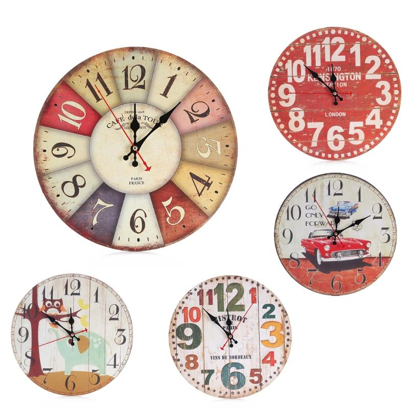 rustic kitchen clock ceiling lights lowes cute wooden wall cartoon round vintage home office decor chic clocks kids bedroom decoration bathroom