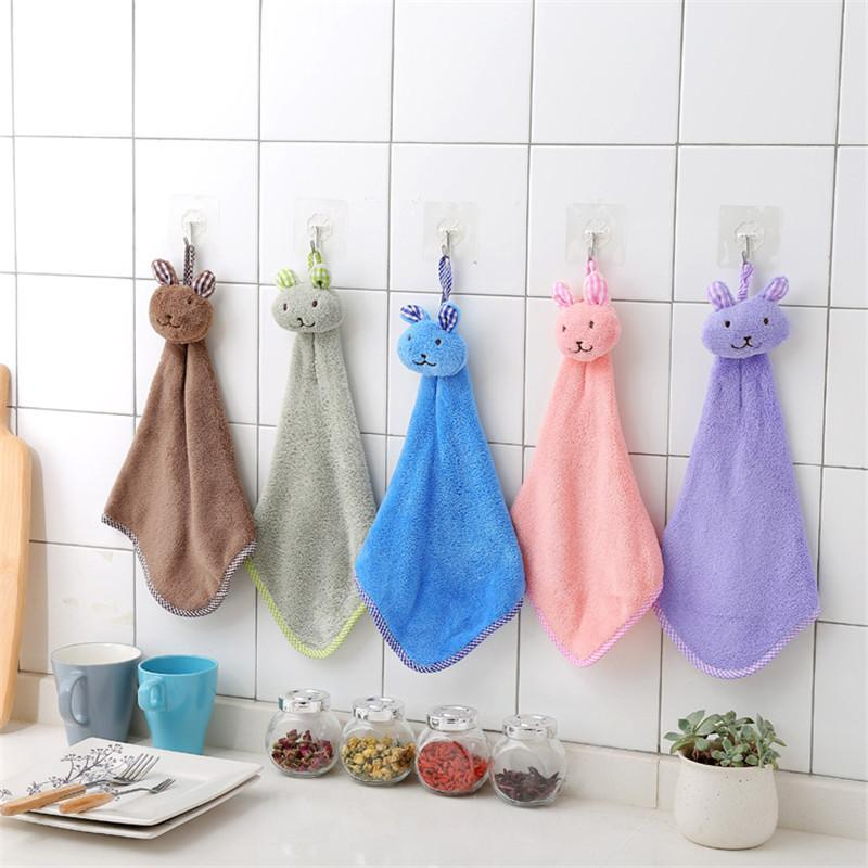 kitchen towel hanger upgrades cute bunny hanging polyester soft hand towels kids enjoy clean dry hands for bathroom cartoon cloths lst organic cotton bamboo