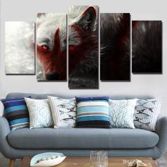 Modern Artwork For Living Room Color Schemes With Brown Leather Furniture Print Wall Hd Modular Scary Wide Wolf Picture Canvas Tableau Poster Frame Painting Decoration Canada 2019 From Z793737893