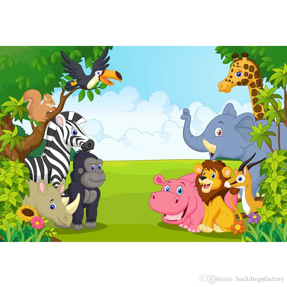 cartoon animals kids happy