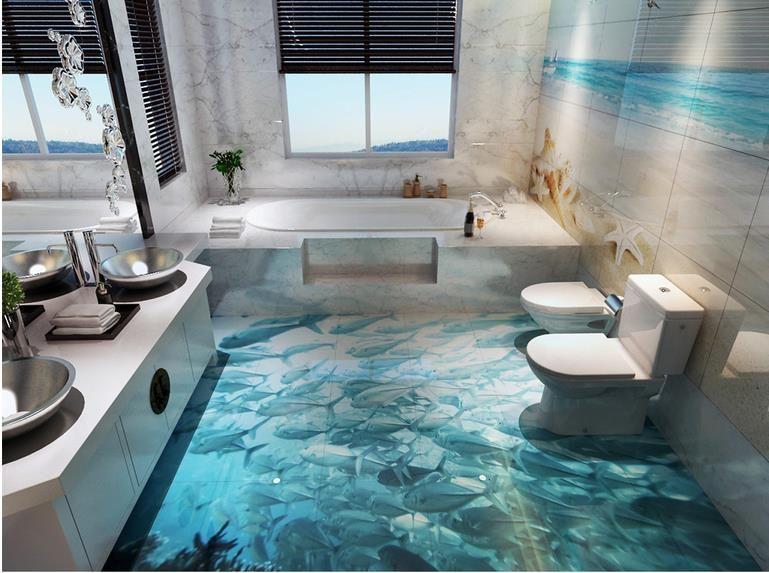 Wallpapers 3d Wall Dolphin Surf Ocean World 3D Bathroom