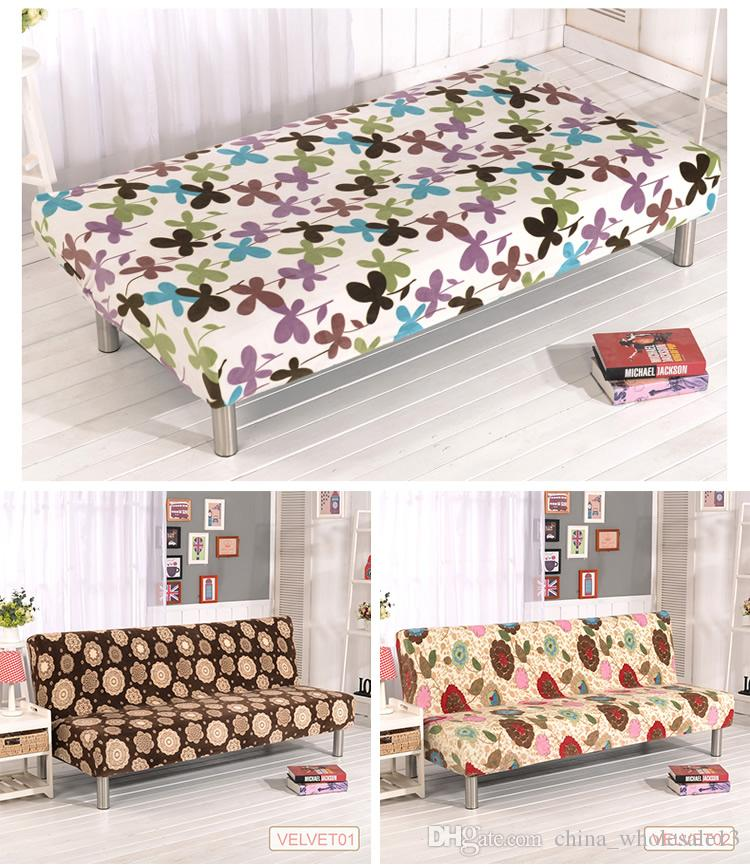 sofa bed covers sectional brown microfiber plush fabric printed fold armless cover folding seat slipcover thicker bench couch protector elastic futon coveraei 024 living room chair
