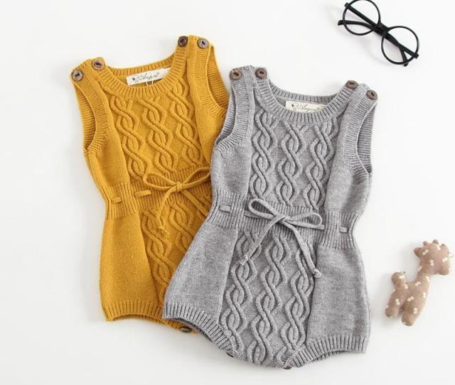 Baby Knit Rompers  Autumn New Toddler Twist Knitting Vest Romper Baby Girls Lace Up Bows Sweater Jumpsuit Baby Clothing B From Start_baby