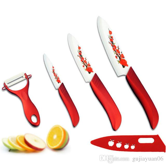 red kitchen knife set towels wholesale hot findking high quality flower painted zirconia ceramic fruit kit 3 5 6 inch peeler cove japanese knives
