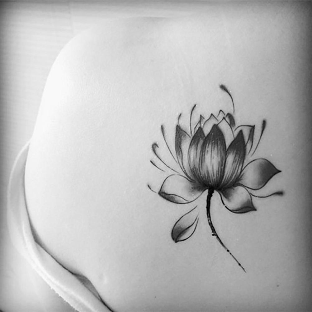 Pegatinas De Flor De Loto Negro A Prueba De Agua Mujer Tatuaje De