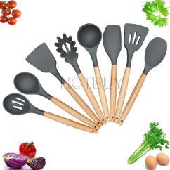 Kitchen Utensil Sets Grey Granite Sink Utensils Cooking Silicone Set Spatula 8 Piece Nonstick Tools Gadgets Wood Handle 4637