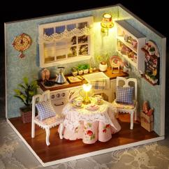 Kitchen Miniature Formica Table Sylvanian Families House Happy With Led Lights Mini Wood Dollhouse Diy Girls Toys Creative Gifts Set Best