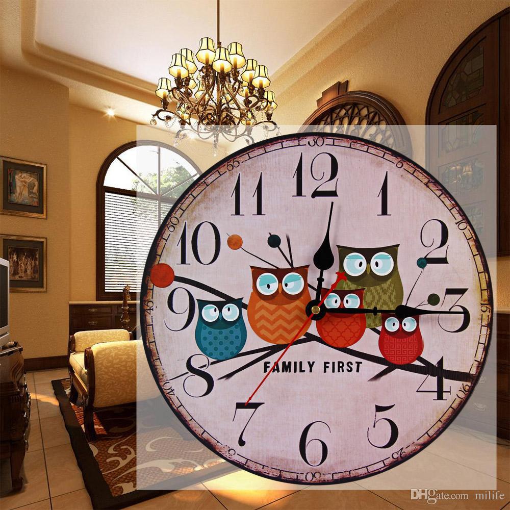 wooden kitchen clock open sink new european style vintage creative forest owl round wood wall quartz bracket clocks decoration decor buy online