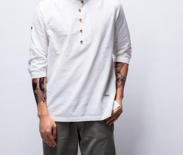 New Fashion T Shirt Mens Coon Linen T Shirts Three Quarter Sleeve Solid V Neck Slim Fit Tees Chinese Style Casual Tops Free T Shirts T Shirts Deals From