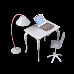 Computer Table Chair Price Hon Motivate Stacking 2017 Cute Dollhouse Miniature Doll Furniture Study Desk Pc With Lamp Children Toy Girl Play House For 18 Dolls