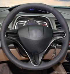1 diy mewant black artificial leather steering wheel cover wrap for honda civic 8 civic 2006 2007 2008 2009 2010 2011 3 spoke silicone steering wheel cover  [ 1200 x 1200 Pixel ]