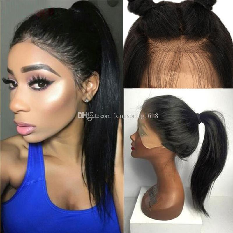 9A Hign Ponytail Lace Front Human Hair Wigs With Baby Hair