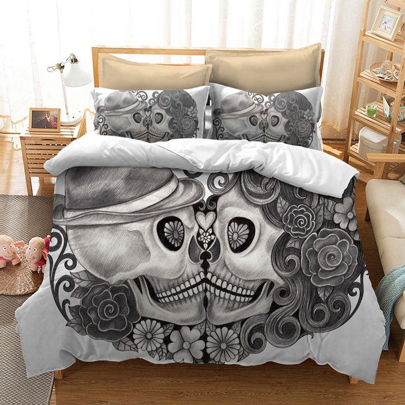 acheter crane ensemble de literie pour lit king size europe style 3d sucre crane housse de couette avec taie d oreiller au lit queen bedline de 113 18 du