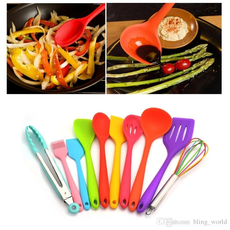 kitchen gadgets organization products silicone utensils kit colorful spoon shovel spatula colander cooking cookware sets accessories yfa407 canada 2019 from bling world