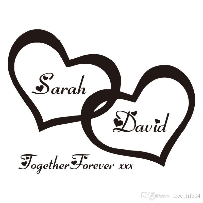 Zn G255 Hearts Custom Personalised Couple Name Vinyl Art