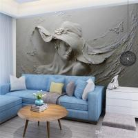 Custom Wallpaper 3d Stereoscopic Embossed Gray Beauty Oil ...