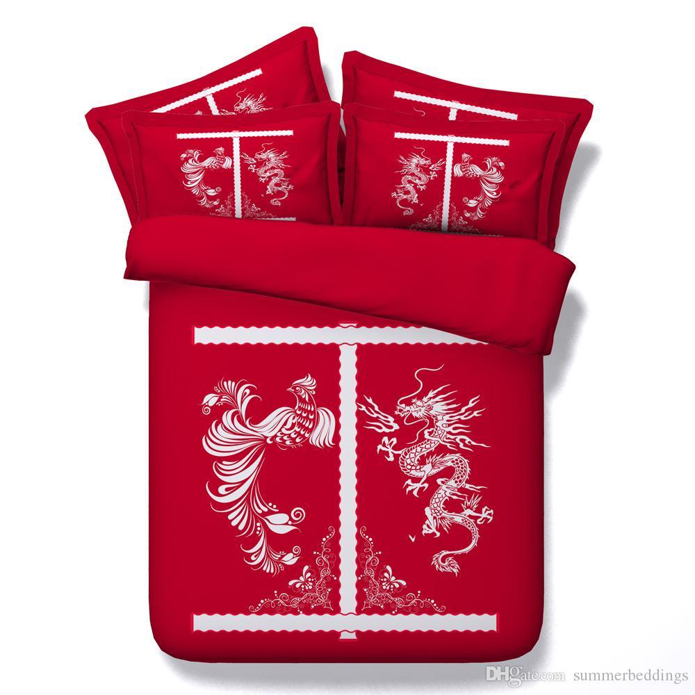 3d dragon phoenix bedding