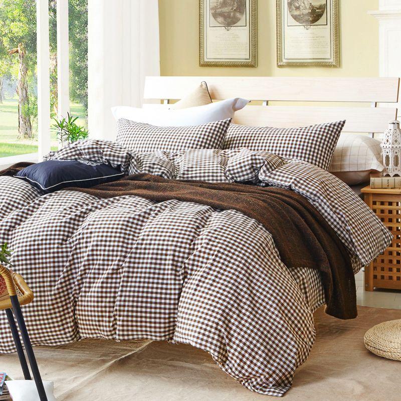 acheter housse de couette a carreaux gris pour lit simple ou double 100 coton couvre lit plaid ensemble de literie housse de couette feuille taie