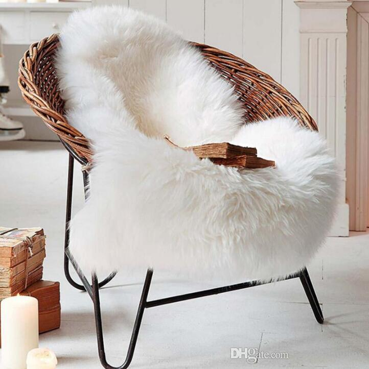 fuzzy sofa bed lazy boy artificial faux wool white soft carpet natural type living room floor foot pad mat chair rug bay window cushion easy wash car pets samples