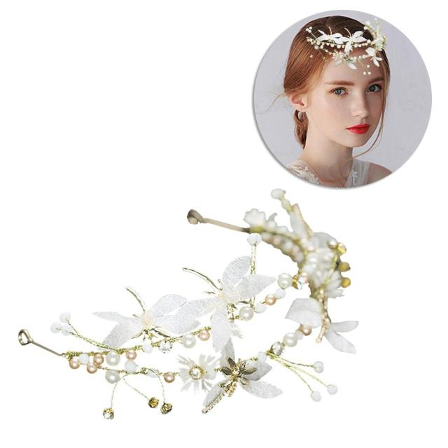 1pcs wedding headband silk yarn butterfly double layer hair band hair hoop headwear for bride flower girls bridesmaid