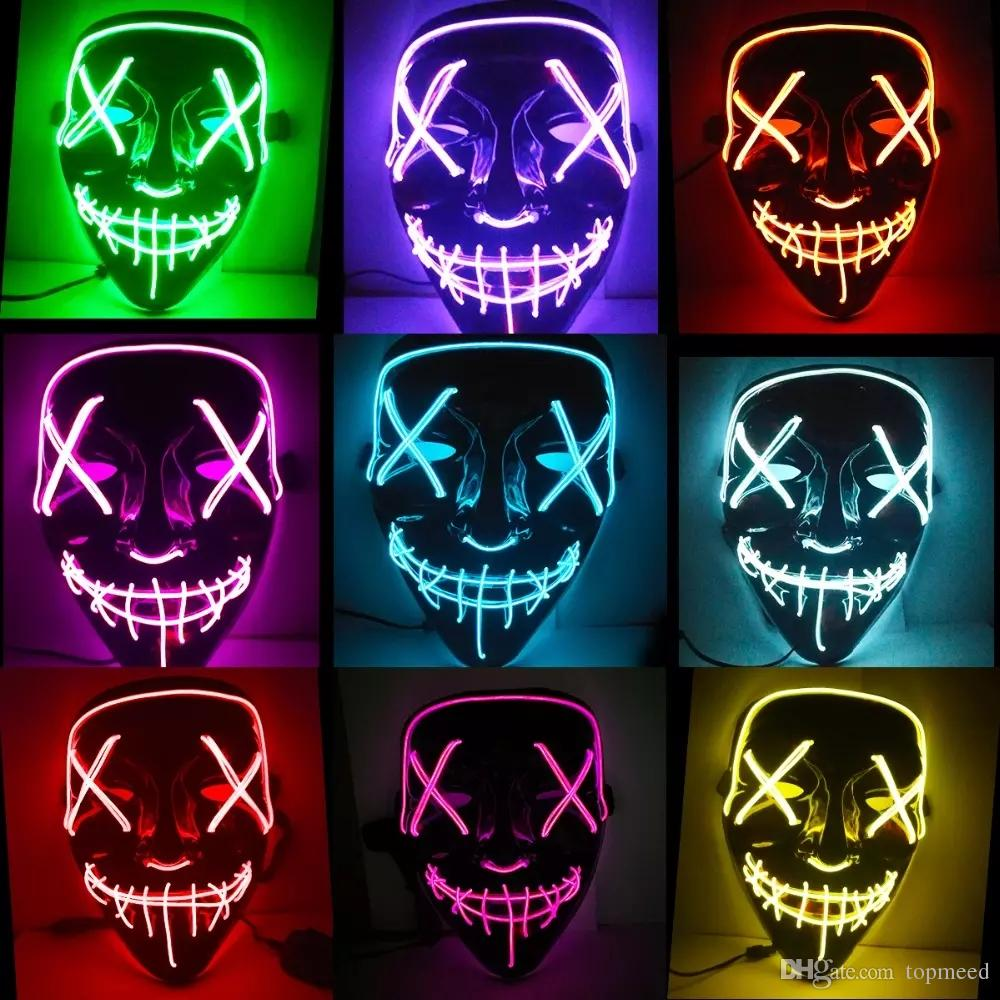 hight resolution of led lights mask up funny mask led strip flexible neon sign light glow el wire rope neon light halloween face controller christmas lights flexible led strips