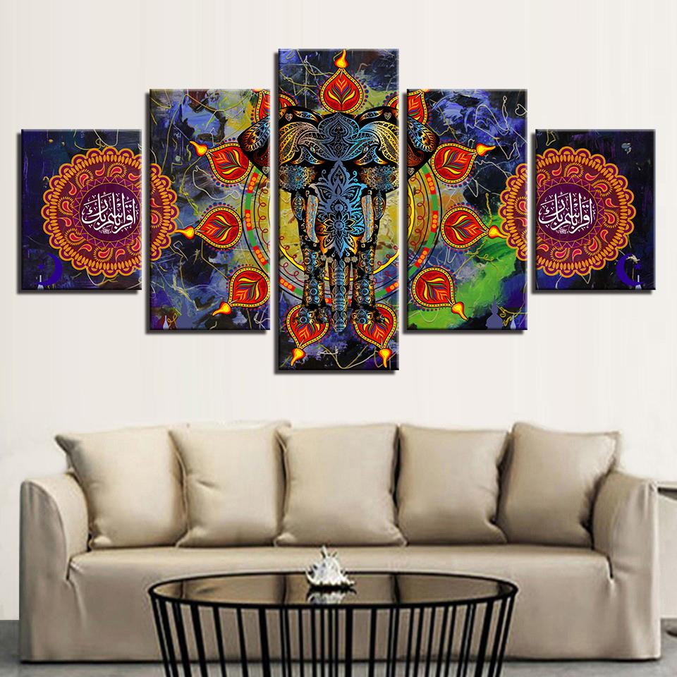 canvas painting living room wall art india elephant poster hd