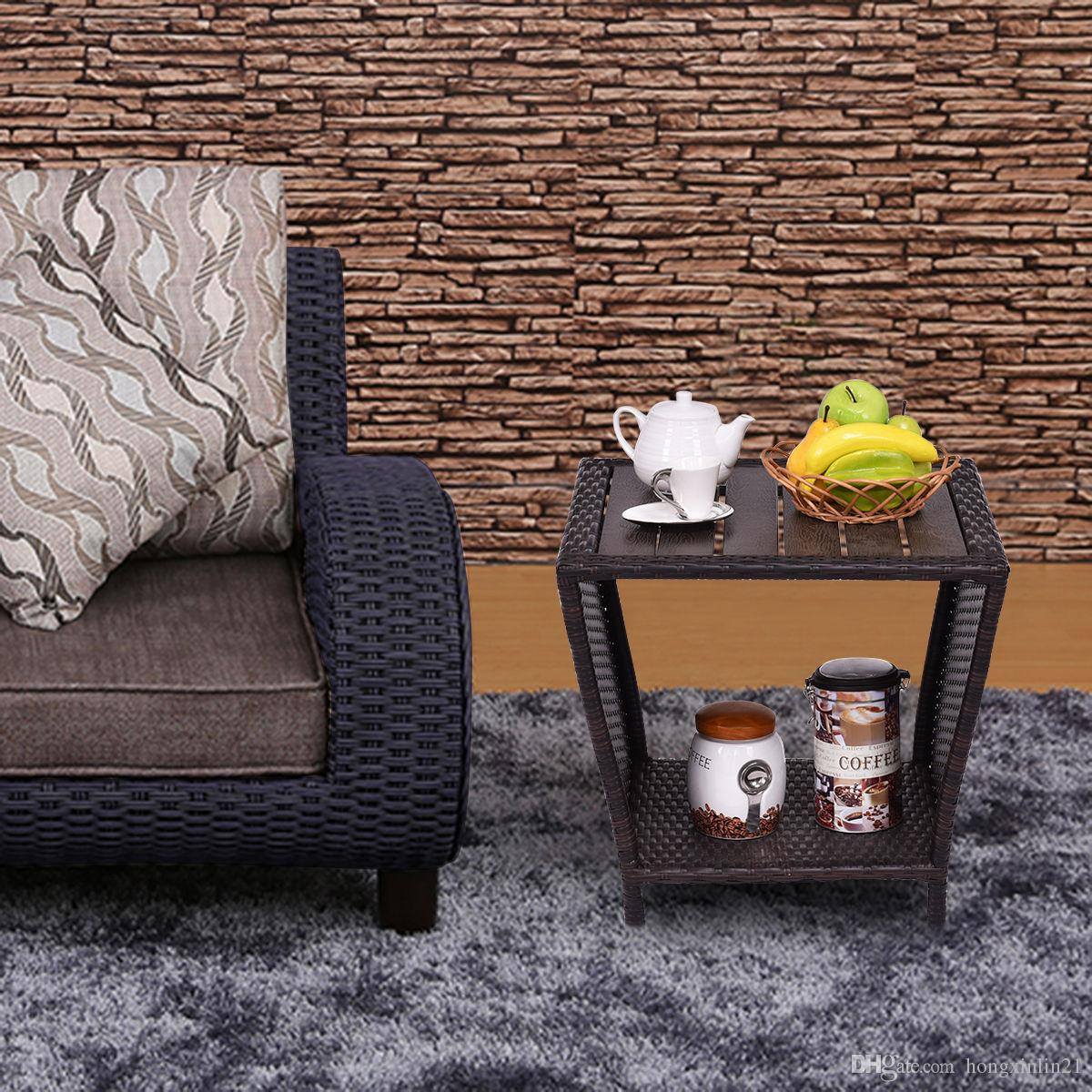 rattan side tables living room stylish chairs 2019 coffee end table 19 sofa furniture decor wood slat top from hongxinlin21 50 26 dhgate com