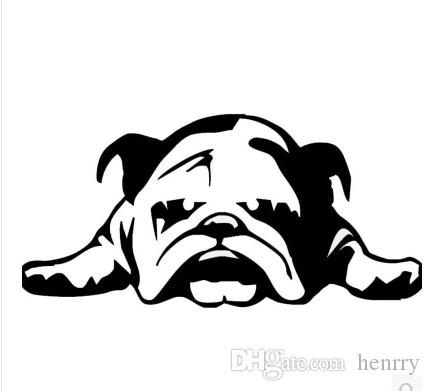 2019 Car Stickers English Bulldog Tired Puppy Dog Cartoon