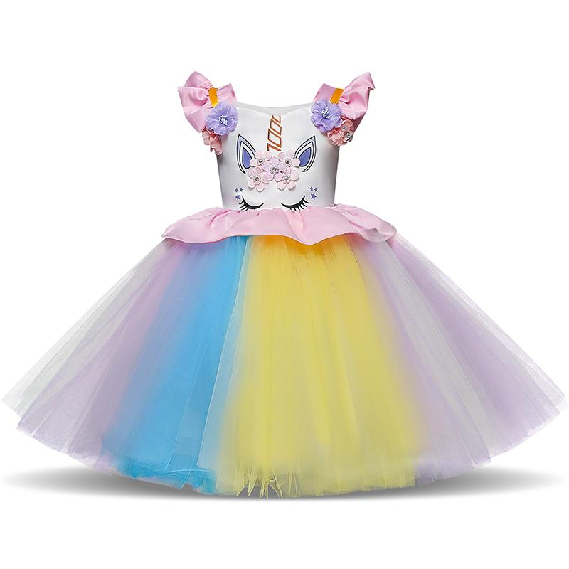 2019 Fancy Baby Girls Unicorn Colorful Dress For 1 Year Girl Baby