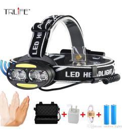 10000lums ir sensor 4 t6 2 cob headlight induction micro usb rechargeable lantern led headlamp head lamp light torch by 18650 [ 1000 x 1000 Pixel ]