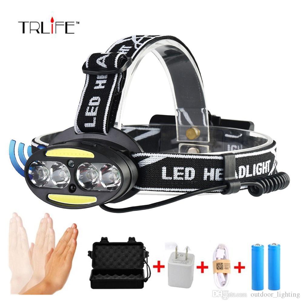 hight resolution of 10000lums ir sensor 4 t6 2 cob headlight induction micro usb rechargeable lantern led headlamp head lamp light torch by 18650