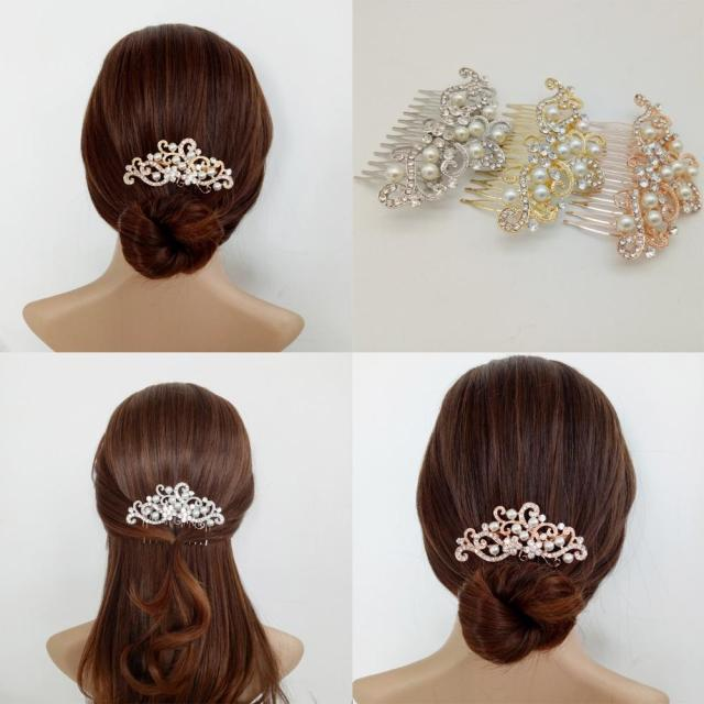 rose gold wedding bridal hair combs clear crystal pearl hair ornaments pin clips for bride headpiece prom jewelry