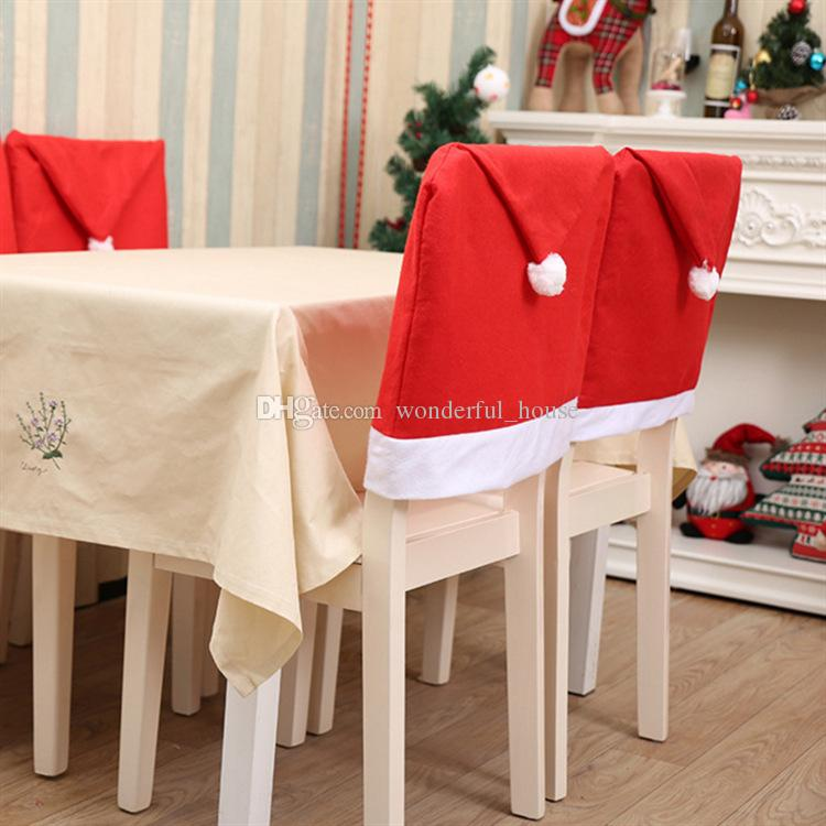 christmas chair covers white air horn under office prank 60 50cm non woven fabric santa clause red cheap gold lycra best banquet