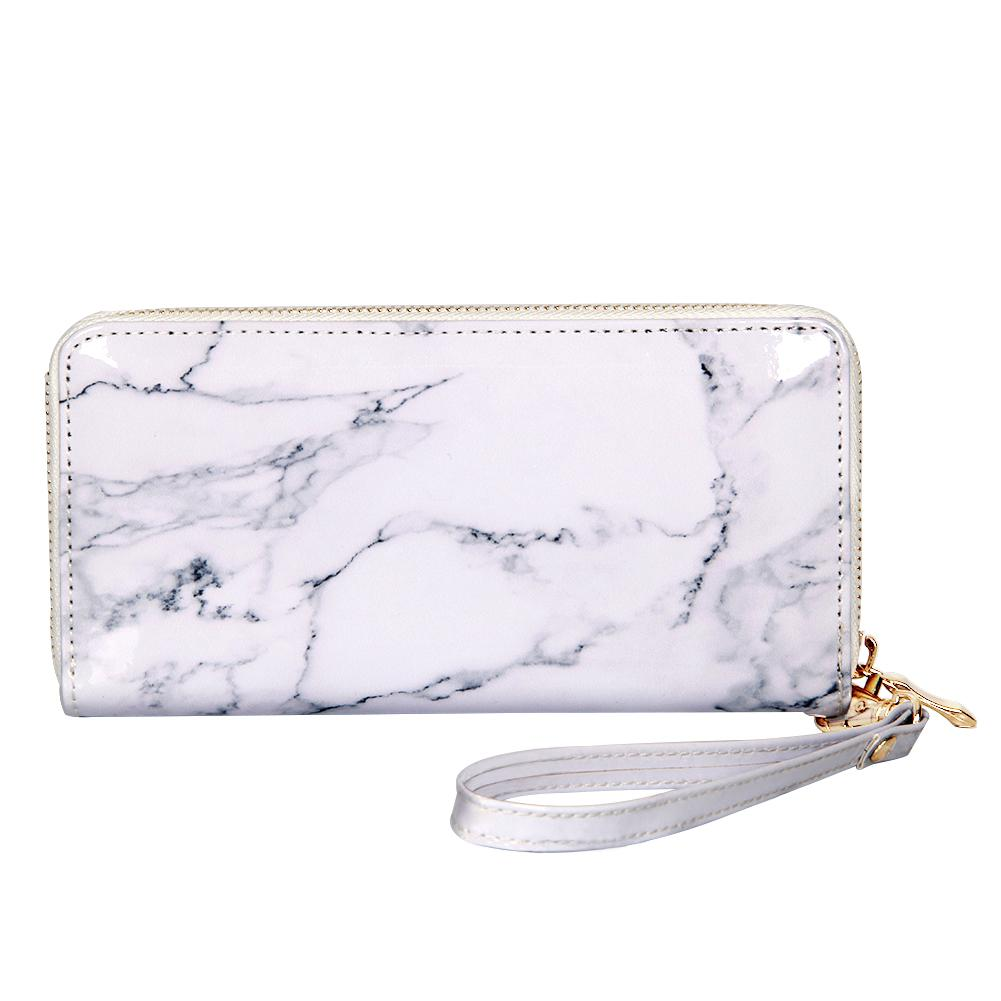 hight resolution of marble printing mirror pu leather long money purse women elegant wallets zipper large card holder luxury handy wallet clutch bag steam wallet wallets from