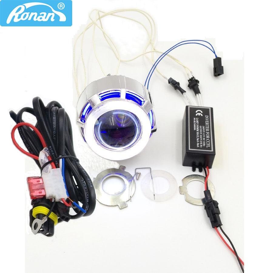 hight resolution of 2019 ronan 2 0inch motorcycle bi xenon hid projector lens with double ccfl angel eyes wire for h4 h7 headlight retrofit use xenon h1 from knite07