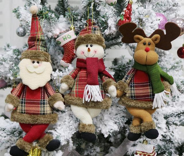 Mini Christmas Tree Ornaments Santa Snowman Reindeer Toy Doll Hang Party Christmas Decorations For Home Outdoor  Y Outdoor Xmas Decorations