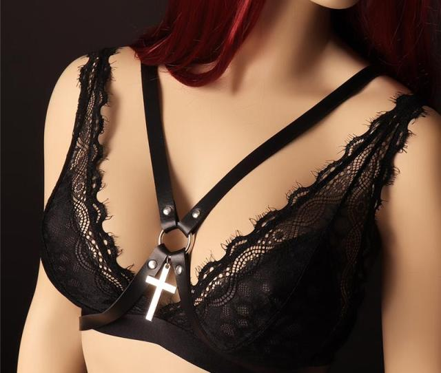 2019 Leather Harness Of Women Bdsm Bondage Lingerie Goth Punk Sexy Tops Cage Bra Leather Body Harnes Full Dance Festival Rave Wear From Jiangzhutian